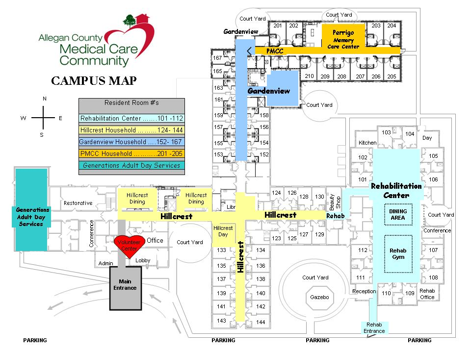 Allegan County Medical Care Community Floor Plan and Campus Map